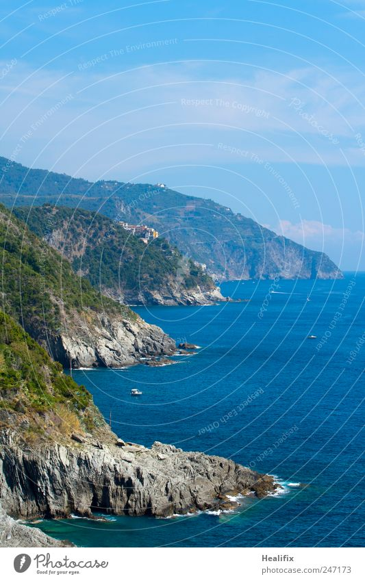 Italia Vacation & Travel Tourism Summer Ocean Hiking Landscape Water Sky Beautiful weather Bushes Hill Rock Waves Coast Bay Mediterranean sea Vernazza
