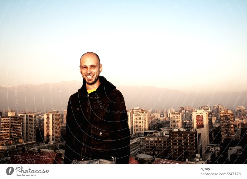 Human being Man Sky City Joy Vacation & Travel Mountain Happy Adults High-rise Masculine Tourism Happiness Skyline Bald or shaved head Downtown