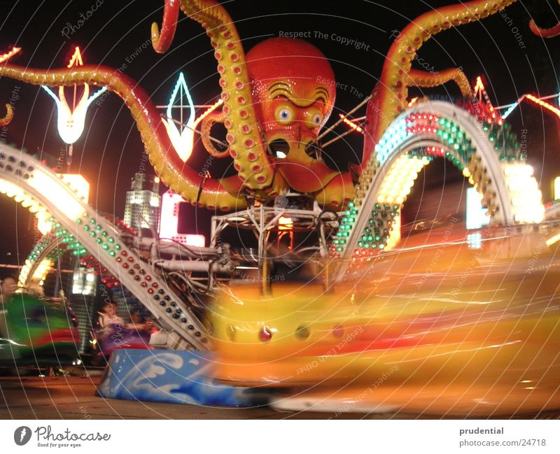 amusement park 1 Fairs & Carnivals Carousel Long exposure Dark Services merry-goround roundabout octupus Light Evening