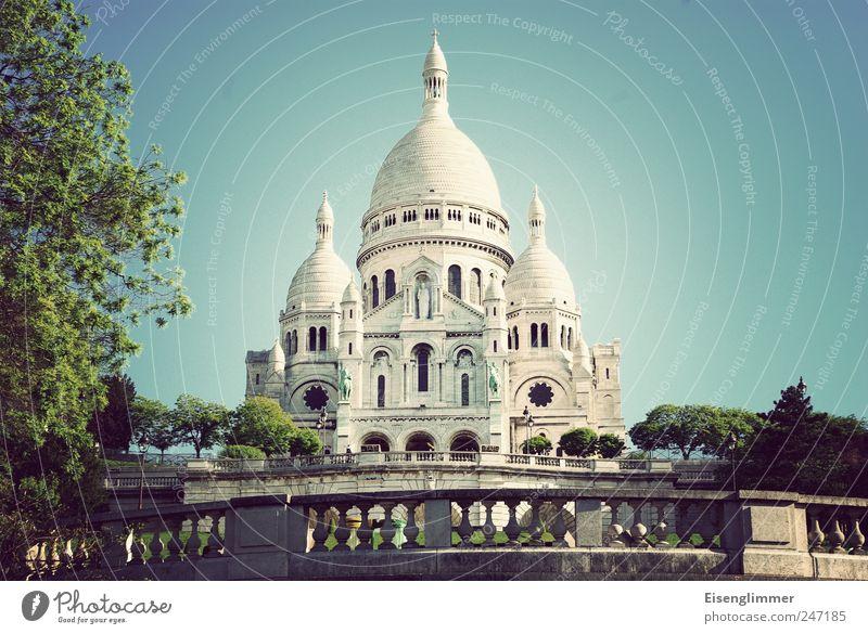Sacré Coeur Paris France Europe Capital city Old Sacré-Coeur Basilica Church Colour photo Exterior shot Deserted Copy Space right Copy Space top