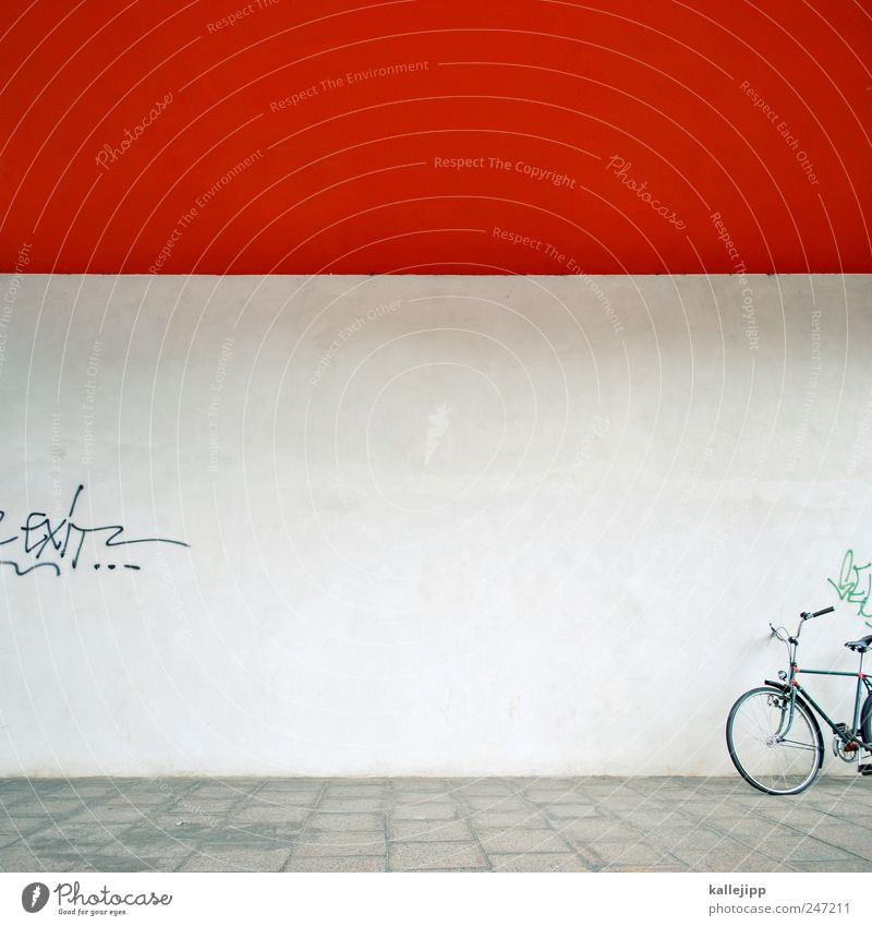 red-wheel-house Lifestyle Leisure and hobbies Transport Means of transport Bicycle Graffiti Logistics Red Colour photo Exterior shot Light Shadow Contrast