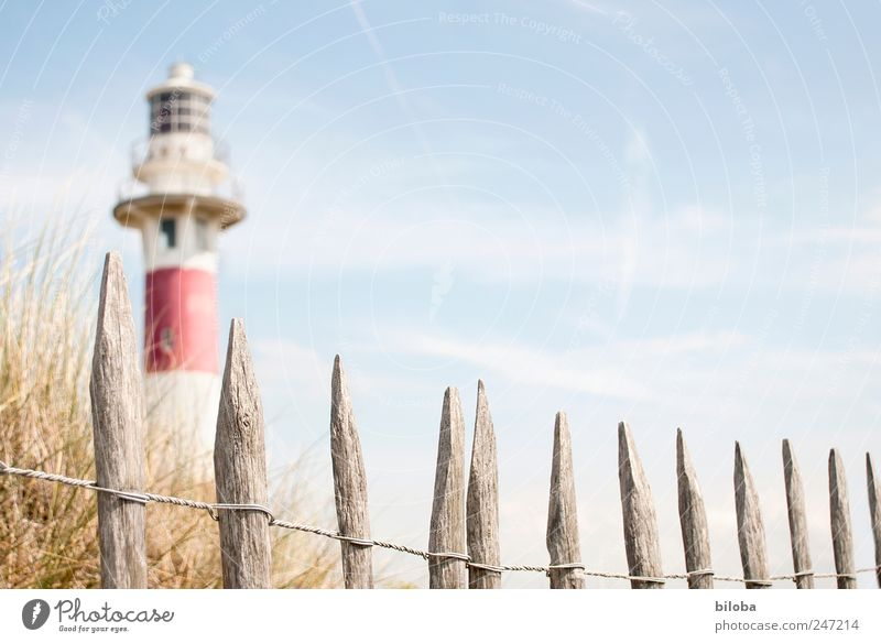 lighthouse romance Grass Coast North Sea Deserted Tower Lighthouse Tourist Attraction Landmark Blue Red White Wanderlust Safety Fence Wooden stake Dune