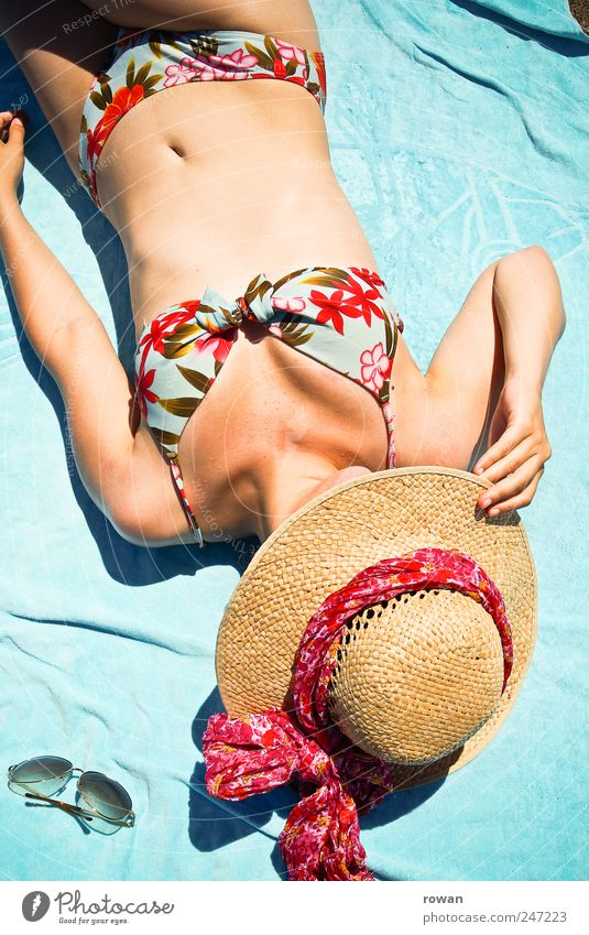 Human being Youth (Young adults) Beautiful Beach Vacation & Travel Eroticism Relaxation Feminine Style Warmth Contentment Lie Tourism Swimming & Bathing Hot Sunglasses