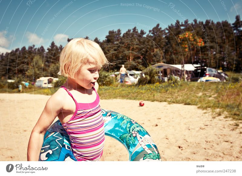 Human being Child Sky Nature Tree Vacation & Travel Summer Beach Environment Meadow Playing Sand Small Infancy Blonde Leisure and hobbies