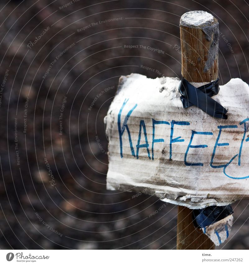 The Prophet in the Desert Coffee Wood Signs and labeling Signage Warning sign Brown Stick Mud Cardboard Word Letters (alphabet) adhesive tape Hang up Clue