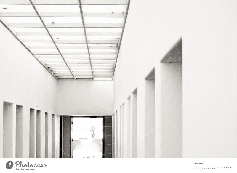 corridor House (Residential Structure) Manmade structures Building Architecture Wall (barrier) Wall (building) Door Esthetic Cold White Hallway Skylight Row