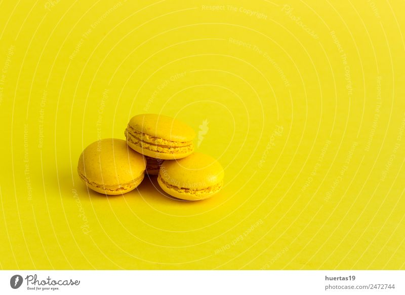 Delicious macarons Food Dessert Sour Yellow Colour Macaron isolated cake sweet colorful french biscuit Bakery candy snack sugar Gourmet flavor Tasty Horizontal
