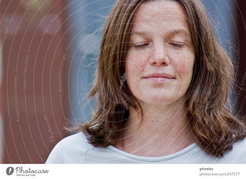 Woman Blue Calm Face Eyes Gray Nose Friendliness Motionless