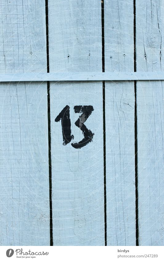 Authentic Digits and numbers Fence Positive Vertical Seam Wooden wall 13 Structures and shapes Characters Popular belief Wooden fence Lucky number