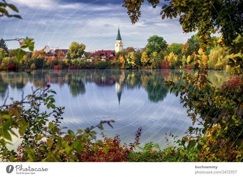 Hüfingen hip rings Black Forest Black Forest Baar voyage destination tourism Autumn huts foliage Lake Pond pond Town Church urban
