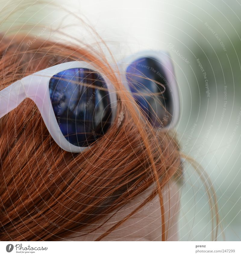 redhead Human being Head Hair and hairstyles 1 Red-haired Long-haired Plastic Eyeglasses Sunglasses Forehead Reflection Summer Colour photo Exterior shot