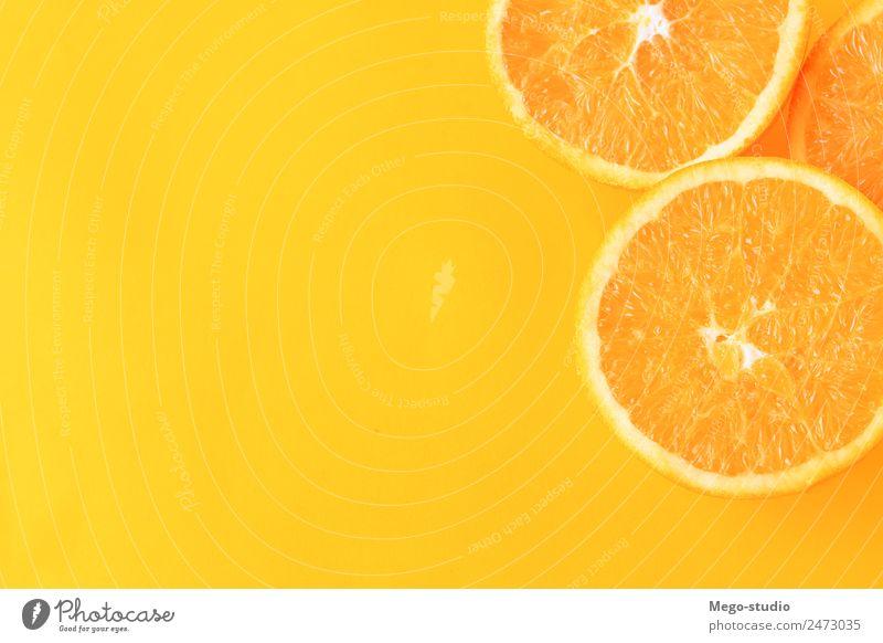 orange slices on yellow background. Nature Colour White Eating Yellow Natural Fruit Fresh Exotic Dessert Mature Refreshment Diet Vegetarian diet Sense of taste