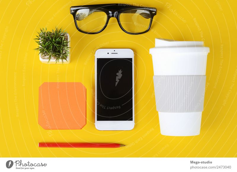 Business objects, cup of coffee, pen, phone and glasses. School Copy Space Work and employment Office Modern Vantage point Technology Table Book Idea Paper