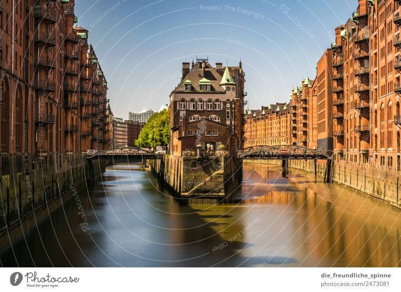 Hamburg moated castle Architecture Cloudless sky Summer Beautiful weather Germany Europe Town Port City Industrial plant Castle Manmade structures Building