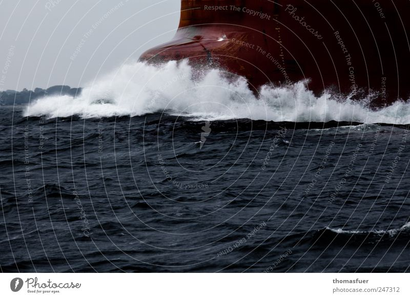Sky Water White Red Ocean Gray Watercraft Waves Power Large Transport Speed Driving Logistics North Sea Strong