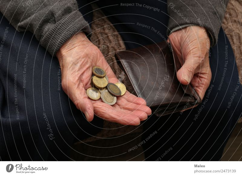 penuriousness Poverty Money Hand Old Man Financial institution Loose change Euro Financial Industry Human being Coin Senior citizen Debts Problem Retirement