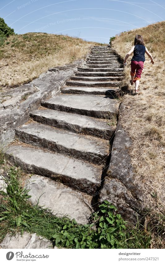 Human being Child Girl Summer Playing Freedom Jump Walking Trip Hiking Rock Stairs Happiness Exceptional Creativity