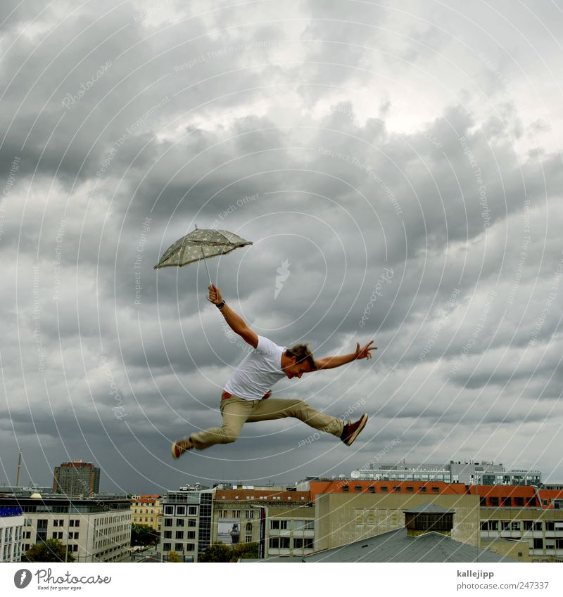 Human being Sky Man City Clouds House (Residential Structure) Life Jump Rain Adults Weather Wind Fly Flying High-rise Stop