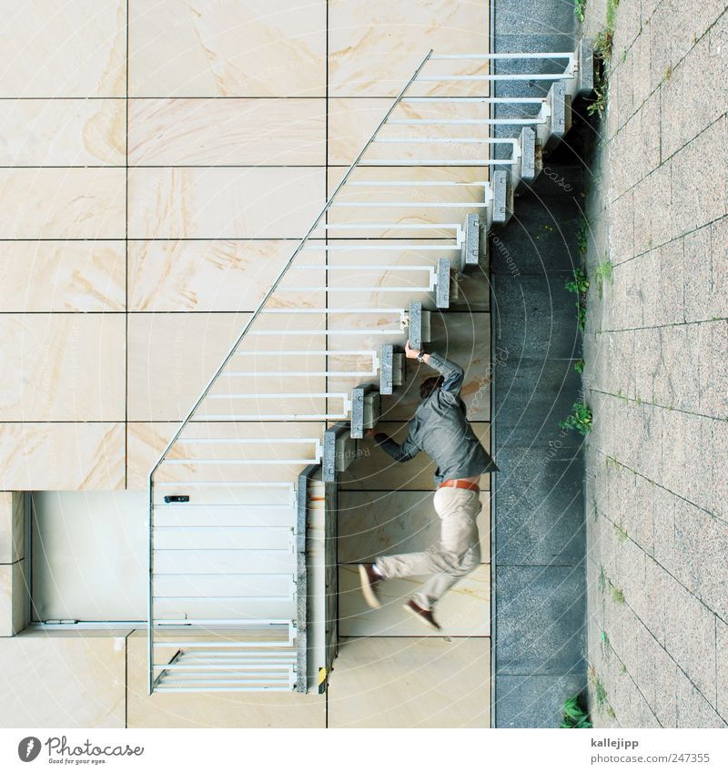 Human being Man Adults Wall (building) Architecture Wall (barrier) Door Facade Stairs To hold on To fall Upward Hang Downward Distorted Direction