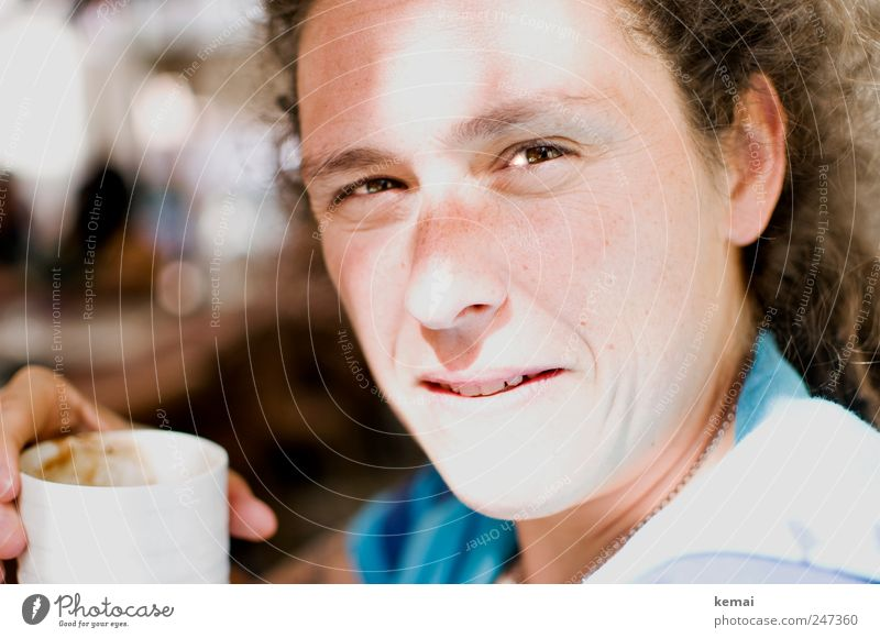 coffee break Cup Coffee cup Vacation & Travel Summer vacation Human being Feminine Woman Adults Life Eyes Ear Nose Mouth Teeth Hand 1 30 - 45 years Looking