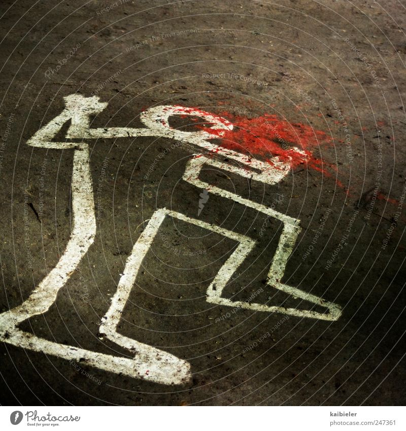 crime scene Sign Graffiti Line Chalk drawing Contour Silhouette Lie Aggression Threat Brown Red White Death Horror Fear of death Animosity Revenge Force