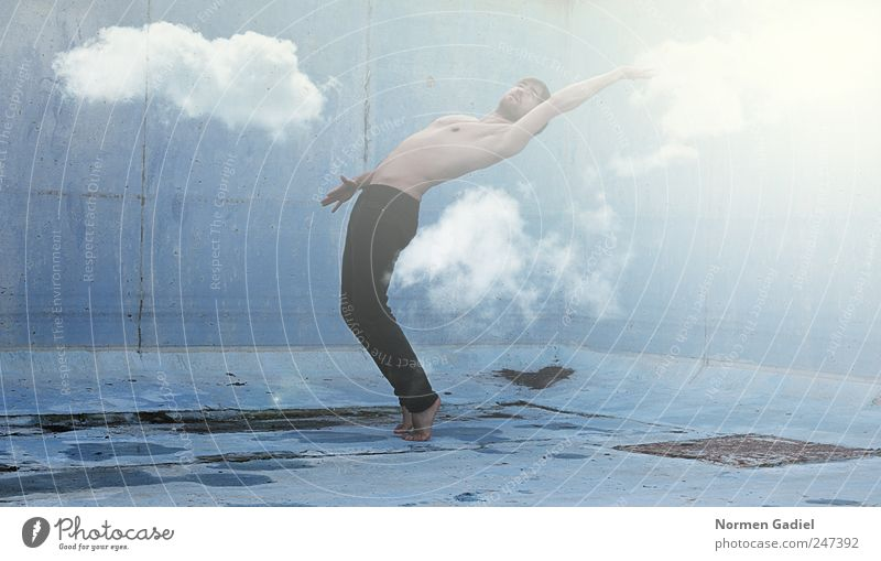 Human being Sky Man Youth (Young adults) Hand Blue Summer Clouds Adults Life Dream Healthy Body Arm Skin Masculine