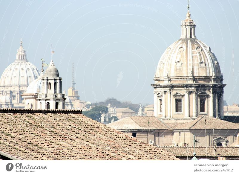 Roman Rome Italy Town Capital city Downtown Old town Skyline Architecture Tourist Attraction Crucifix Religion and faith Subdued colour Multicoloured