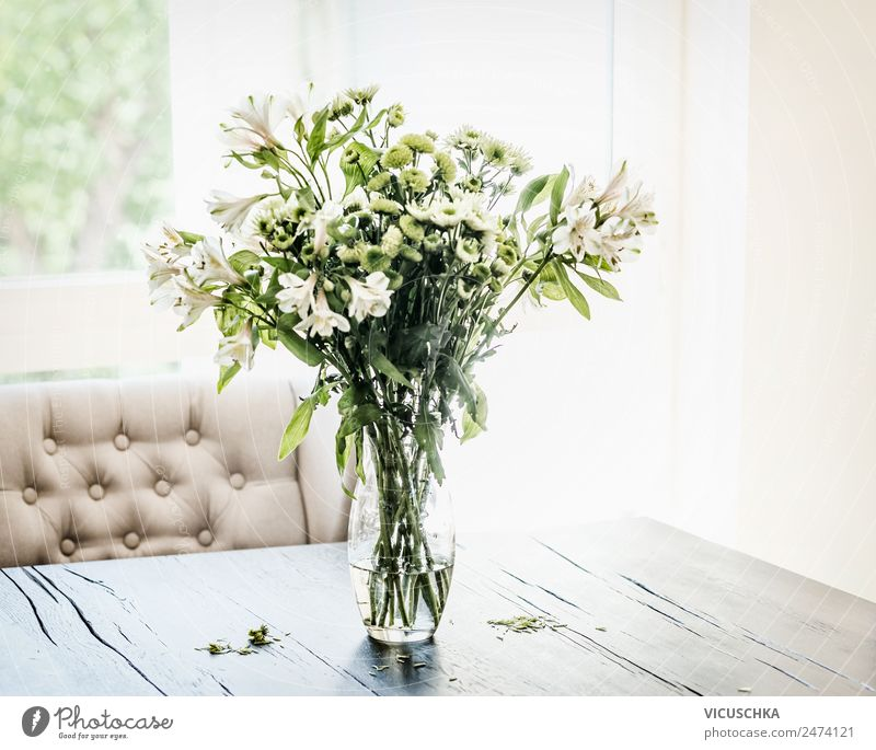Summer flowers bundles in vase on table Style Design Living or residing Flat (apartment) House (Residential Structure) Interior design Decoration Table