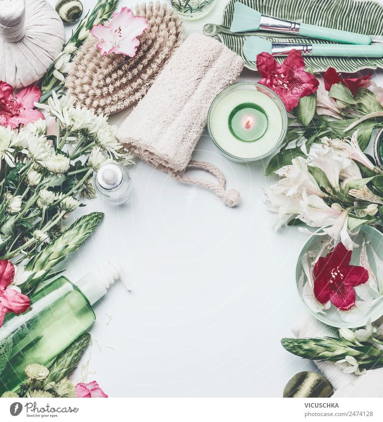 Spa, wellness and cosmetics composing with flowers on white Lifestyle Style Design Beautiful Personal hygiene Cosmetics Healthy Wellness Relaxation Massage