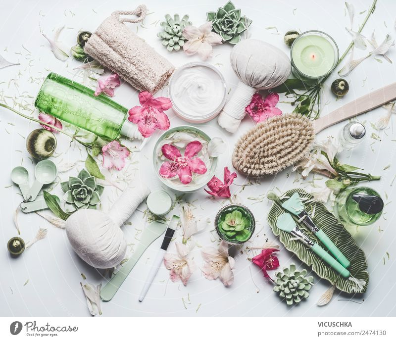 Spa, wellness and cosmetics with flowers and scented candles Style Design Joy Beautiful Personal hygiene Cosmetics Healthy Medical treatment Wellness Massage