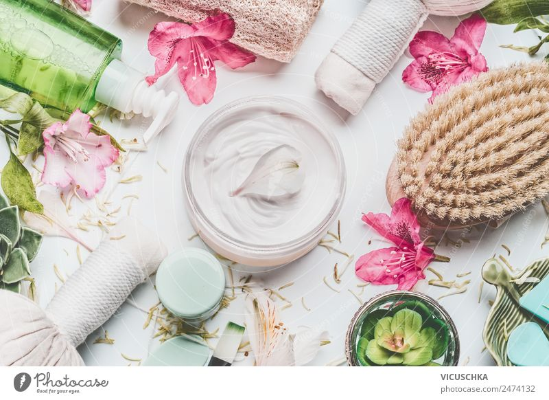 Skin cream with petals and other body care products Shopping Style Design Beautiful Personal hygiene Cosmetics Cream Healthy Wellness Spa Nature Plant Flower