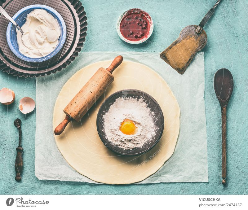 Dough, dough roll and bowl with flour and egg Food Baked goods Nutrition Crockery Style Design Living or residing Baking Bowl Flour Egg Kitchen Table