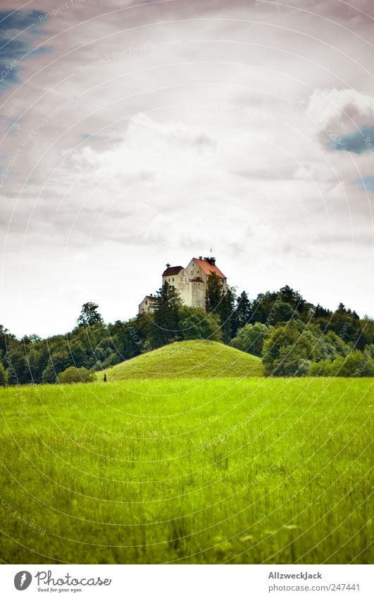 fortress Vacation & Travel Trip Sightseeing Dream house Landscape Clouds Summer Grass Field Forest Hill Tourist Attraction Wolfegg Fortress Old Esthetic