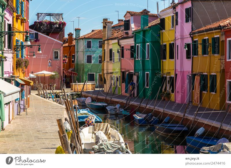 sunny side Vacation & Travel Tourism Trip Sightseeing City trip Summer vacation Burano Venice Italy Europe Village Fishing village Port City Old town Deserted