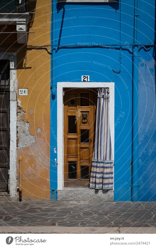 Vacation & Travel Old Blue Town Colour House (Residential Structure) Yellow Environment Building Facade Living or residing Door Poverty Transience Italy Broken