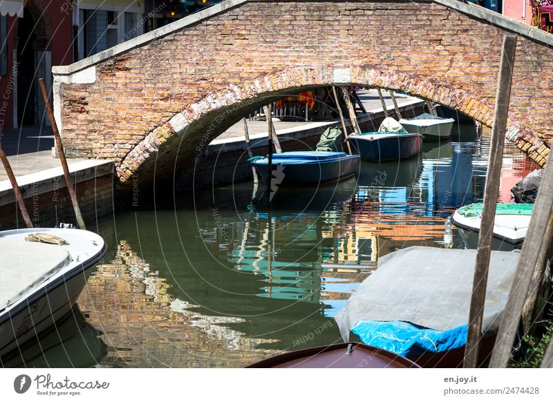 Vacation & Travel Old Town Lanes & trails Tourism Trip Bridge Italy Summer vacation City trip Old town Sightseeing Channel Port City Rowboat Venice