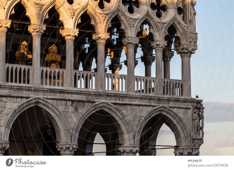 airy Vacation & Travel Sightseeing City trip Venice Italy Town Old town Palace Building Architecture Facade Balcony Terrace Arcade Tourist Attraction