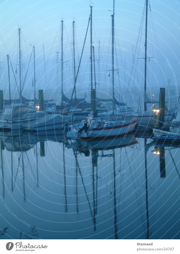 Morning light at the harbour Sailboat Harbour Dawn Fog North Sea