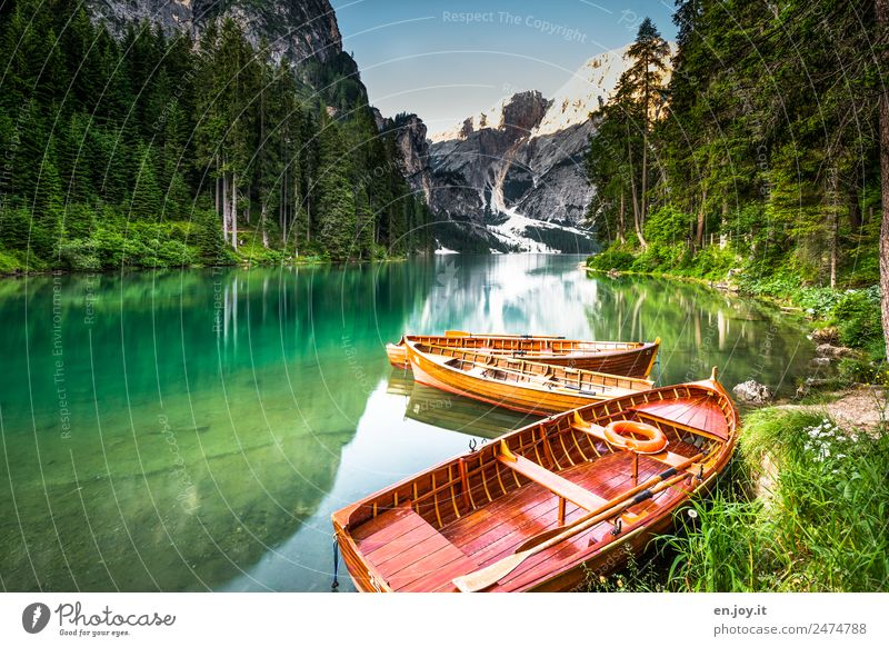 lake of fairy tales Leisure and hobbies Vacation & Travel Tourism Trip Adventure Summer Summer vacation Mountain Nature Landscape Forest Alps Dolomites Lakeside
