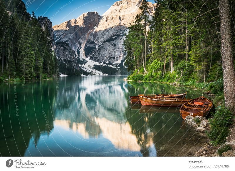 Dreamlike Leisure and hobbies Vacation & Travel Tourism Trip Adventure Summer Summer vacation Mountain Nature Landscape Forest Alps Dolomites Peak Lakeside