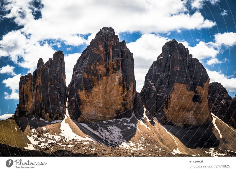 2999 Vacation & Travel Tourism Trip Adventure Mountain Hiking Environment Nature Landscape Clouds Rock Alps Dolomites Three peaks Peak South Tyrol Italy