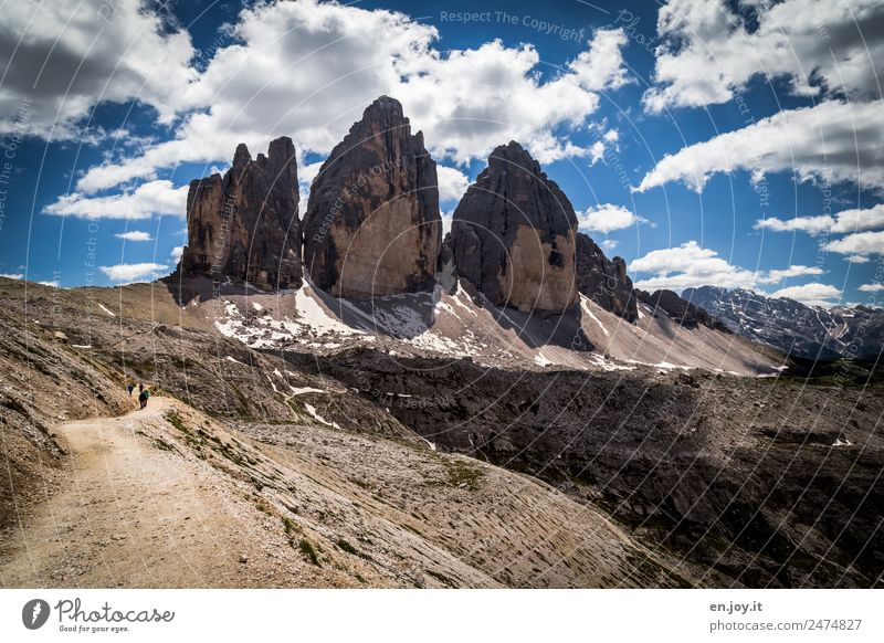 landmarks Vacation & Travel Tourism Trip Adventure Mountain Hiking Nature Landscape Clouds Rock Alps Dolomites Three peaks South Tyrol Italy Famousness Gigantic