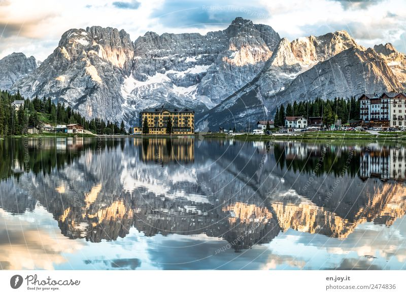 Nature Vacation & Travel Landscape House (Residential Structure) Clouds Calm Mountain Building Tourism Lake Rock Contentment Dream Europe Italy Peak