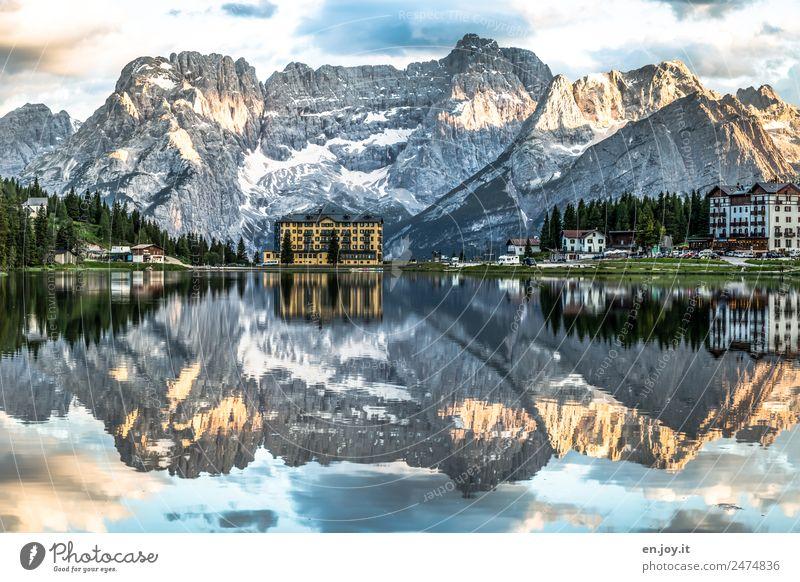 water level Vacation & Travel Mountain Nature Landscape Clouds Rock Alps Dolomites Peak Lakeside Lago di Misurina misurina Italy South Tyrol Europe