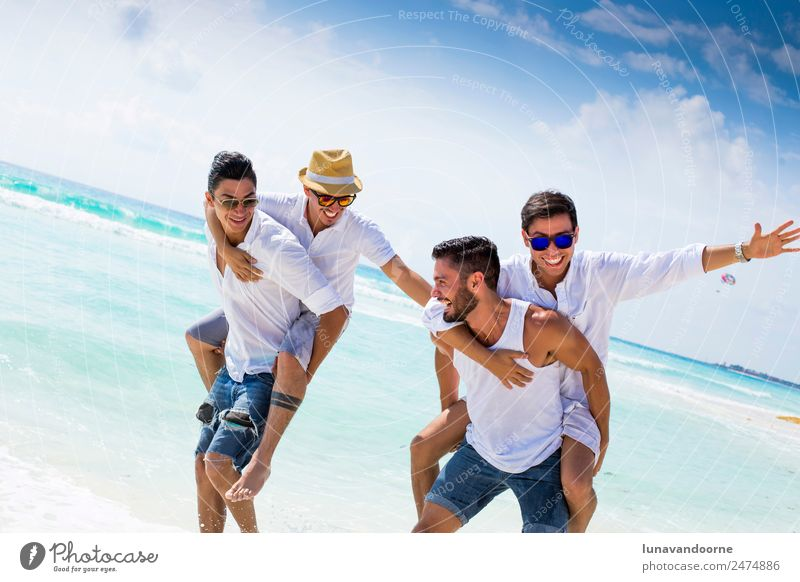 Four friends on holidays Lifestyle Joy Vacation & Travel Tourism Sun Beach Homosexual Man Adults Friendship Couple 4 Human being 18 - 30 years