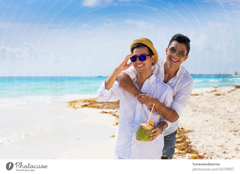 Gay couple on holidays in Cancun Lifestyle Style Joy Vacation & Travel Tourism Sun Beach Wedding Homosexual Man Adults Friendship Couple Sand Fashion Clothing