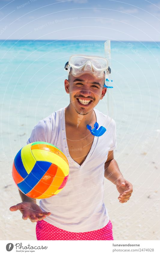 Summer holidays, man with snorkel and volley ball. Lifestyle Fitness Freedom Beach Sports Human being Homosexual 1 18 - 30 years Youth (Young adults) Adults