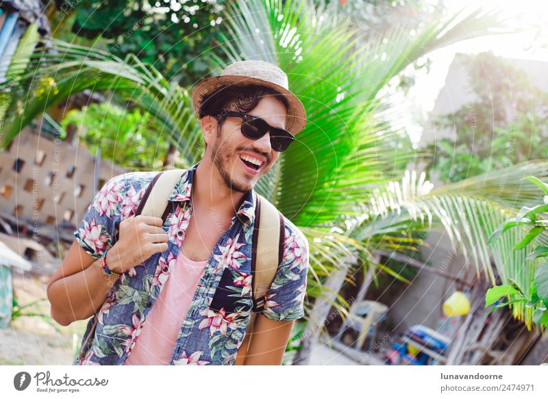 Latin man traveling in Mexico Lifestyle Relaxation Leisure and hobbies Vacation & Travel Adventure Summer Island Homosexual Man Adults Nature Shirt Happiness
