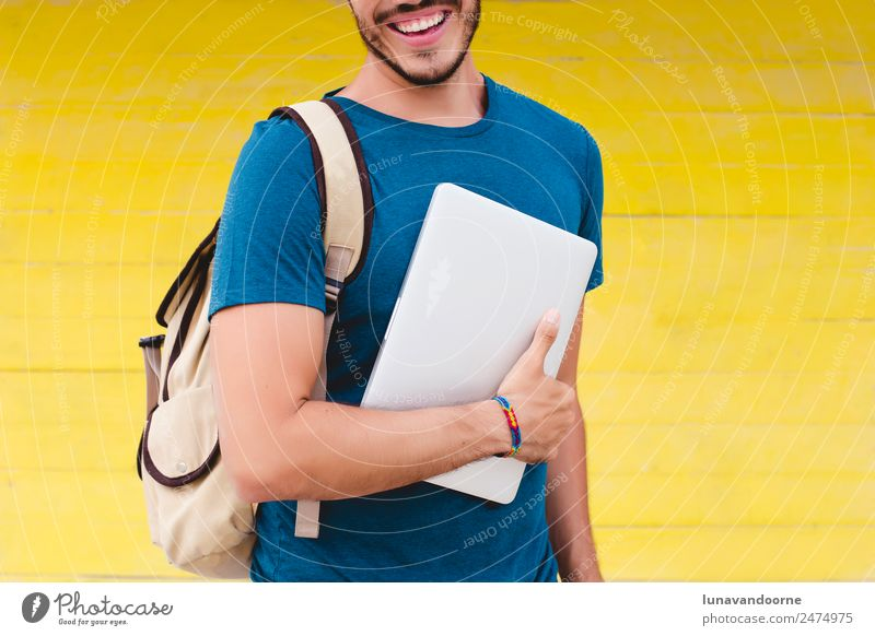 Back to school Lifestyle Relaxation Leisure and hobbies Vacation & Travel Adventure Summer Computer Notebook Technology Homosexual Man Adults 1 Human being