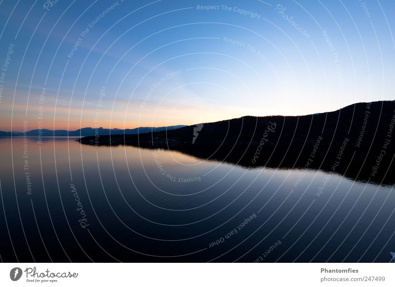 Norway Nature Landscape Elements Water Sky Cloudless sky Sunrise Sunset Beautiful weather Fjord North Sea Reflection Colour photo Exterior shot Deserted